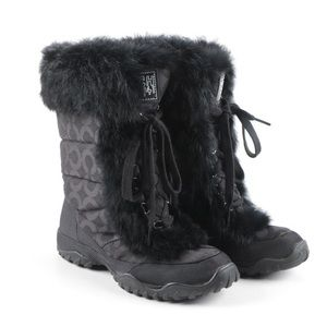 COACH JENNIE RABBIT FUR WINTER SHORT BOOTS BLACK